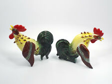 Vintage Kasuga Ware Japan 2 Piece Roosters Wall Pockets