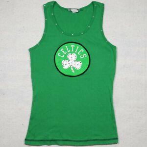 Boston Celtics Shirt Womens XL Green Tank Top Beaded Basketball NBA Ladies