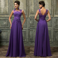 Purple Applique Lace Ball Gown Bridesmaid Prom Dress Evening Formal - UK14/US10