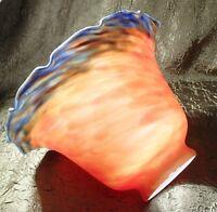 "MOTTLED RED & BLUE ART GLASS LAMP SHADE DESK FIXTURE 2 1/4"" STATUE GLOBE"