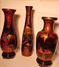 Vintage Wood Vietnamese Lacquered Vase Set (3 Vases Total) Gold Foil