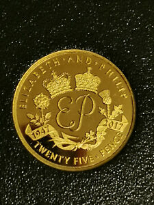 ALDERNEY GOLD COIN POUND PENCE 25P UK CHANNEL ISLAND OVERSEAS TERRITORIES
