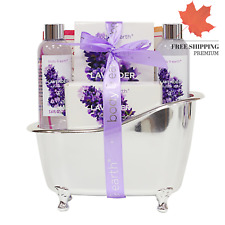 Bath Spa Gift Basket for Women Lavender Scented Spa Gift 4pcs Set with Body W...
