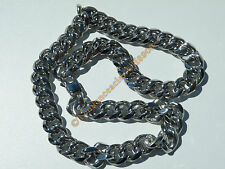 Chaine Collier 60 cm Style Maille Gourmette Massif Argent Acier Inoxydable 15 mm