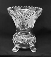 "Vintage 3 Footed Imperlux Crystal Vase 6 1/4""- Germany"