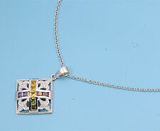 """Multi-Color Chain Necklace with Cubic Zirconia Sterling Silver Jewelry 16-18"""""""