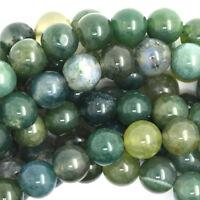 "Green Moss Agate Round Beads Gemstone 15"" Strand 4mm 6mm 8mm 10mm 12mm"
