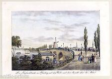 Lombard pont à Hambourg-du panaché-Lithographie peter suhr 1840