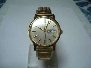 OMEGA 1020 Men's Automatic Watch Day Date Quick Set Speidel Band 1970's Working