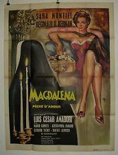 """AFFICHE CINEMA : """"Magdalena Pêché d'amour"""" 1961 avec Sara Montiel"""