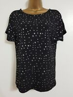 NEW WAREHOUSE Sparkly Star Print Silver Black Top Blouse Evening Party Occasion