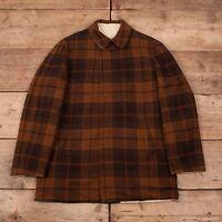 "Mens Vintage Pendleton 60s Brown Reversible Wool Car Coat Large 42"" R11287"