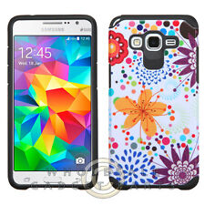 Samsung Grand Prime Advanced Armor Case - Flower Buds and Bubbles/Black