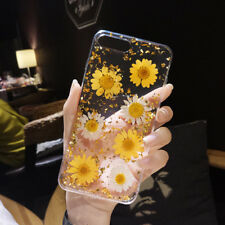For iPhone X 8 6s 7 Plus Real Dried Flower Glitter Clear Rubber Soft Case Cover