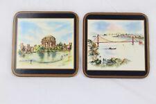 Vintage Pimpernel Set of 2 Square Coasters Cork Back England Made