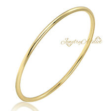 9K YELLOW GOLD FILLED 3MM X 70MM SOLID CLASSIC PLAIN ROUND STACK GOLF BANGLE NEW