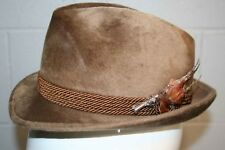 a2427d8b0eb VTG Mens Souczek Hat Feather BIRD Pin 6 7 8 Brown Austrian 55 Velour Fedora