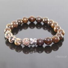 Herren Leoparden  Styl Jaspis Perlen Shamballa Gummiarmband  Armband für Männer