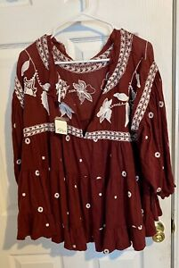 NWT Free People Womens Blouse Size L Embroidered Red White