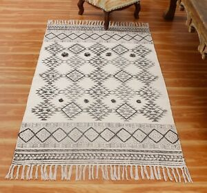 4x6 6x9 Ft Garden Area Rugs Vintage Cotton Moroccan Hand Block Printed Dhurrie