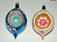 2 VTG Christmas Ornament Indent Teardrop Pink Blue Mercury Glass Poland 4-4 1/2""