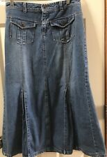 French Cuff Denim Skirt 6 Mermaid Panel Flare Flap Front Pockets Jean Full
