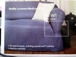 NorthCrest Loveseat Slipcover Waffle Medium Blue Textured Pattern NEW