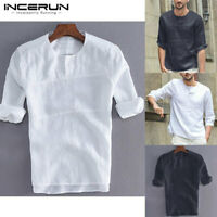 Mens Linen Cotton Henley T-shirt Half Sleeve Casual Solid Shirts Blouse Tops UK