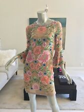 NWT RARE MATTHEW WILLIAMSON BEADED SEQUIN FLORAL SHIFT DRESS UK 6 US 2-4