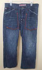 PARASUCO Mens Jeans 36X30 Blue Stripes Bootcut Zipper Classic