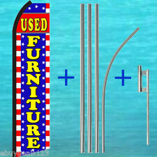 USED FURNITURE SWOOPER FLAG +15' TALL POLE MOUNT KIT Flutter Feather Banner Sign