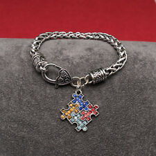 Autism Awareness Puzzle Charm On Silver Plated Wheat Chain Bracelet