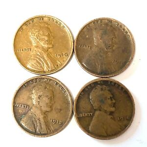 Lot Of 4 Lincoln Wheat Penny Small Cents 1910,1911,1912 ,1914  Philadelphia Mint