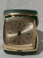 Vintage Green & Gold Cased Bulova Travel Wind Up Mechanical Alarm Clock Working
