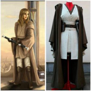 Starwars cosplay Female Jedi Padawan Dres Uniform cape set custom made cos