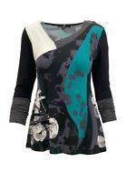 Lior Paris Women's Green & Black Paint Splash Long Sleeve Asymmetrical V-neck