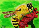 """ACEO ANIMAL PAINTING """"BEE ON A FLOWER"""" SIGNED ORIGINAL G. BELL"""
