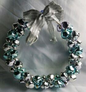Light Purple Blue Cluster Round Ring Decorative Door Wreath Holiday Bells