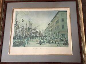 Aquatint New York South Street  Maiden Lane 1828 Varin