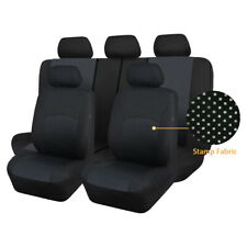 Stamp Fabric Car Seat Covers Protectors Set Universal Split 40/60 50/50 Black