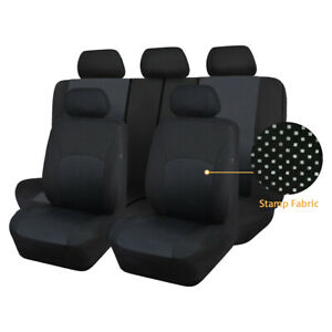 Stamp Fabric Car Seat Covers Universal Set Washable Split 40/60 50/50 Fit Airbag