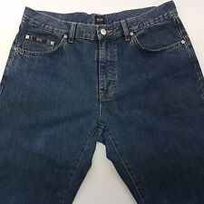 HUGO BOSS ARKANSAS Mens Jeans W35 L32 Blue Relaxed Loose Fit Straight High Rise