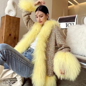 100% Genuine Women's Tweed Coats Jackets Red Sheep Fur Trims Collar Cuff Hooded