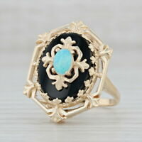 Vintage Opal Black Onyx Chalcedony Ring 14k Yellow Gold Size 7.5 Ornate Cocktail