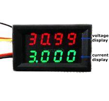 0-33V 0-3A DC Voltmeter Ammeter 4 Bit Digital LED Amp Volt Gauge meter 12V GREEN