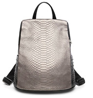 Authentic Genuine Leather Backpack Crocodile Pattern Women Satchel Bags