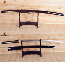 Japanese Samurai Sword Full Tang Sharp Blade Damascus Katana Iron Tsuba Cut Tree