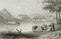 Blick v. d. Donau auf Pesth u. Ofen, Ungarn, 19. Jh., Stahlst.