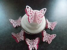 12 PRECUT Double Pink Edible wafer/rice paper Butterflies cake/cupcake toppers2