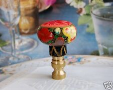 """1 of Vintage / Classic Hand Painted Floral Lamp Shade Finial 2-1/8"""" Tall"""